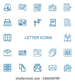 Editable 22 letter icons for web and mobile. Set of letter included icons line Spell, Mms, Notes, Diploma, Note, Typewriter, d, Crossword, Receipt, Invoice on white background