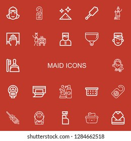 Editable 22 maid icons for web and mobile. Set of maid included icons line Maid, Door hanger, Dust, Duster, Cleaning, Housekeeping, Bellboy, Dustpan, Parking meter on red background