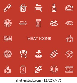 Editable 22 meat icons for web and mobile. Set of meat included icons line Tongs, Fried chicken, Grill, Food, Taco, Jiaozi, Croquette, Bitterballen, Salami, Farm on red background