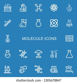 Editable 22 molecule icons for web and mobile. Set of molecule included icons line Chemistry, Flask, Molecule, Physics, Dna, Transgenics, Nuclear, Science on blue background