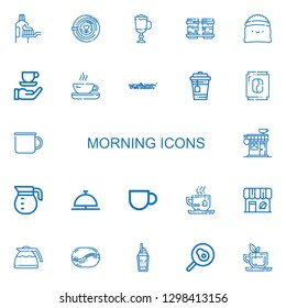 Editable 22 morning icons for web and mobile. Set of morning included icons line Toothpaste, Latte, Cappuccino, Coffee cup, Coffee, Tea, Verizon, Mug, Coffee shop on white background