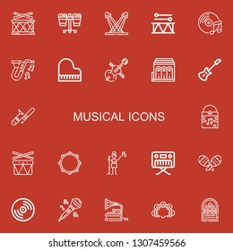 Editable 22 musical icons for web and mobile. Set of musical included icons line Drum, Concert, Music, Jazz, Piano, Cello, Philharmonic, Electric guitar, Trombone on red background