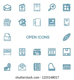 Editable 22 open icons for web and mobile. Set of open included icons line Email, Invitation, Dossier, Message, Clean window, Shop, Lock, Folder, Book, Peas on white background