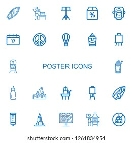 Editable 22 poster icons for web and mobile. Set of poster included icons line Surfboard, Woman suffrage, Stand, Offer, Gorilla, Saint Patrick, Peace sign on white background