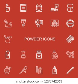 Editable 22 powder icons for web and mobile. Set of powder included icons line Powder, Salt, Cosmetics, Makeup, Seasoning, Hairdryer, Spices, Perfume, Skii, Baby powder on red background