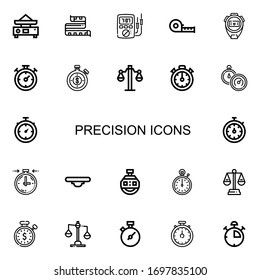Editable 22 precision icons for web and mobile. Set of precision included icons line Balance, Measuring tape, Ammeter, Stopwatch, Chronometer, Stopclock, Stop watch on white background