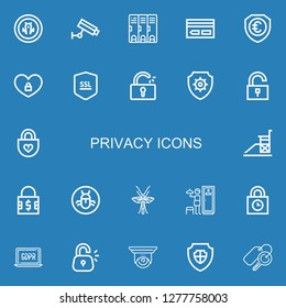 Editable 22 privacy icons for web and mobile. Set of privacy included icons line Shield, Cctv, Locker, Key card, Padlock, Ssl, Unlocked, Antivirus, Unlock, Vigilance on blue background