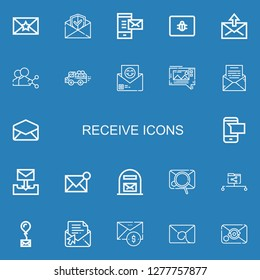 Editable 22 receive icons for web and mobile. Set of receive included icons line Envelope, Email, Mail, Spam, Share, Pick up, Mms, Sms, Mail box, Data share on blue background