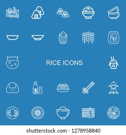 Editable 22 rice icons for web and mobile. Set of rice included icons line Sushi, Onigiri, Zongzi, Rice, Bowls, Bowl, Wheat, Seed bag, Sake, Takoyaki, Chopsticks on blue background