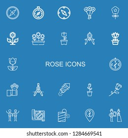 Editable 22 rose icons for web and mobile. Set of rose included icons line Compass, Bouquet, Flower, Flowers, Tulip, Petard, Rose, Wedding on blue background