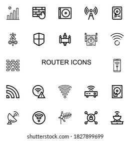 Editable 22 router icons for web and mobile. Set of router included icons line Wifi, Firewall, Dvd, Signal, Hard drive, Wifi signal, Router, Hard disc, Antenna on white background