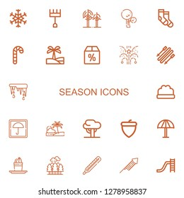 Editable 22 season icons for web and mobile. Set of season included icons line Snowflake, Rake, Wind, Tree, Socks, Candy cane, Oasis, Offer, Fireworks, Skii on white background