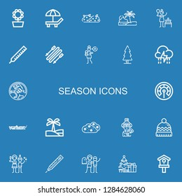 Editable 22 season icons for web and mobile. Set of season included icons line Sunflower, Beach, Bush, Birch, Thermometer, Skii, Lullaby, Tree, Storm, Holden on blue background