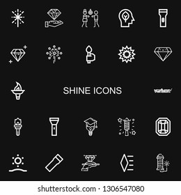 Editable 22 shine icons for web and mobile. Set of shine included icons line Fireworks, Diamond, Disco, Inspiration, Flashlight, Torch, Explosion, Verizon on black background