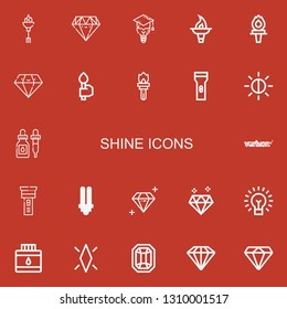 Editable 22 shine icons for web and mobile. Set of shine included icons line Torch, Diamond, Bulb, Flashlight, Brightness, Ink, Verizon, Lightbulb, Gem on red background