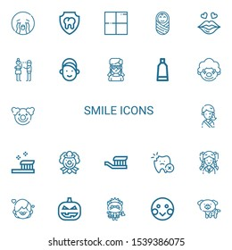 Editable 22 smile icons for web and mobile. Set of smile included icons line Crying, Dental, Delicious, Baby, Kiss, Flirty, Girl, Tooth paste, Clown, Toothbrush on white background