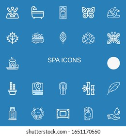 Editable 22 spa icons for web and mobile. Set of spa included icons line Yoga, Bath, Massage, Butterfly, Swan, Leaf, Lotus, Essential oil, Bamboo, Robe, Bathrobe on blue background
