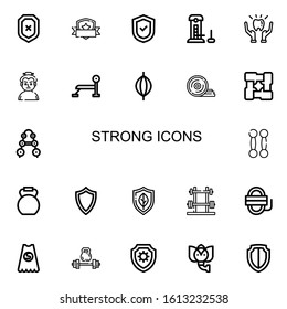 Editable 22 strong icons for web and mobile. Set of strong included icons line Shield, Strength, Protection, Sumo, Bench press, Punching bag, Weight plates on white background