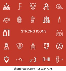 Editable 22 strong icons for web and mobile. Set of strong included icons line Mass, Gym station, Rhino, Barbell, Weight plates, Diet, Rope, Dumbbell, Punching bag on red background