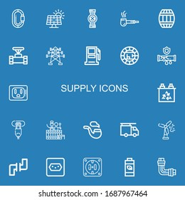 Editable 22 supply icons for web and mobile. Set of supply included icons line Carabiner, Solar panel, Pipes, Pipe, Barrel, Electric tower, Gasoline station on blue background