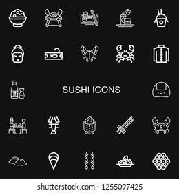 Editable 22 sushi icons for web and mobile. Set of sushi included icons line Rice, Samurai, Sushi, Fast food, Geisha, Tuna, Crab, Kimono, Sake, Onigiri, Lobster on black background