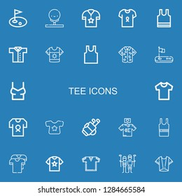 Editable 22 tee icons for web and mobile. Set of tee included icons line Golf, Shirt, Sleeveless, Tshirt, Sleeveless shirt, Golfer on blue background