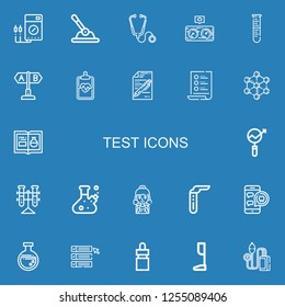 Editable 22 test icons for web and mobile. Set of test included icons line Voltmeter, Control, Stethoscope, Pressure, Lab, Test, Clipboard, List, Molecule, Chemistry on blue background