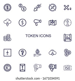 Editable 22 token icons for web and mobile. Set of token included icons line Coin, Coins, Download, No drugs, Subscript, Hair dryer, Info, Scheme, Question mark on white background