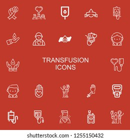 Editable 22 transfusion icons for web and mobile. Set of transfusion included icons line Blood donation, Donors, Blood transfusion, Donor, Hemoglobin, Blood bag on red background