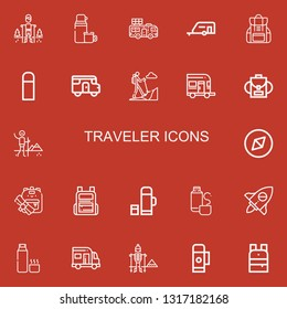 Editable 22 traveler icons for web and mobile. Set of traveler included icons line Hiking, Thermo, Caravan, Backpack, Adventure, Thermos on red background