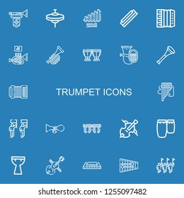 Editable 22 trumpet icons for web and mobile. Set of trumpet included icons line Trumpet, Cymbals, Xylophone, Harmonica, Accordion, Timpani, Tuba, Vuvuzela on blue background