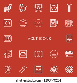 Editable 22 volt icons for web and mobile. Set of volt included icons line Electric, Wire, Multimeter, Socket, Wiring, Shocked, Voltmeter, Ammeter, Tesla ball on red background