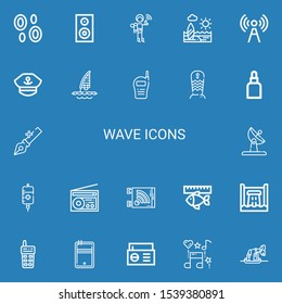 Editable 22 wave icons for web and mobile. Set of wave included icons line Blood, Woofer, Walkie talkie, Beach, Signal, Captain, Windsurf, Surfboard, Drops on blue background