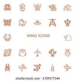 Editable 22 wing icons for web and mobile. Set of wing included icons line Bee, Parrot, Butterfly, Helicopter, Swan, Dove, Moth, Caduceus, Raven, Ladybird on white background