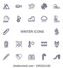 Editable 22 winter icons for web and mobile. Set of winter included icons line Mountains, Puck, Iceberg, Skii, Boot, Mitten, Temperature, Snow, Thermometer on white background