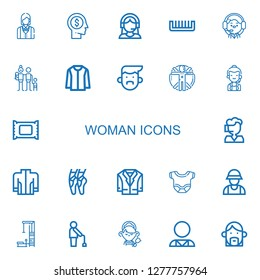 Editable 22 woman icons for web and mobile. Set of woman included icons line Waitress, Head, Customer support, Comb, Operator, Family, Jacket, Avatar, Transhumanism on white background