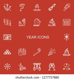 Editable 22 year icons for web and mobile. Set of year included icons line Celebration, Dragon, Pudding, Champagne, Petard, Confetti, Fountain, Mitten, Calendar on red background