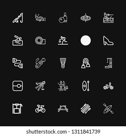 Editable 25 activity icons for web and mobile. Set of activity included icons line Kayak, Skii, Picnic table, Bike, Well, Bicycle, Ice fishing, Scuba diving on black background