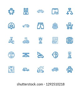 Editable 25 ai icons for web and mobile. Set of ai included icons line Space robot, Car, Shorts, Robotics, Robot, Transhumanism, Artificial intelligence, Psd file on white background