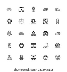 Editable 25 ai icons for web and mobile. Set of ai included icons line Transhumanism, Robot, Artificial intelligence, Neural, Car, Short, Robotics, Shorts on white background