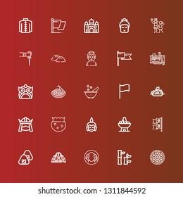 Editable 25 asia icons for web and mobile. Set of asia included icons line Baozi, Bamboo, Peking duck, Lotus temple, Onigiri, Flags, Bowl, Buddha, Samurai, Rice, Flag, Pad thai on red
