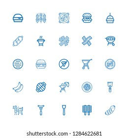 Editable 25 beef icons for web and mobile. Set of beef included icons line Sausage, Grill, Spatula, Beef chow fun, Barbecue, Sausages, Junk food, No fast food on white background