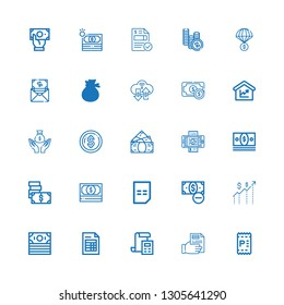 Editable 25 bill icons for web and mobile. Set of bill included icons line Invoice, Receipt, Bill, Money, Amount on white background