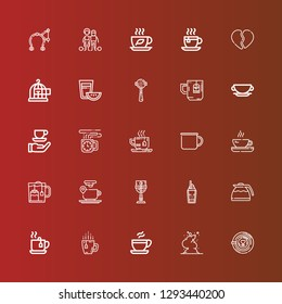 Editable 25 break icons for web and mobile. Set of break included icons line Latte, Smoke, Coffee, Tea, Coffee pot, Cup, Coffee cup, Mug, Espresso, Freedom, Broken heart on red