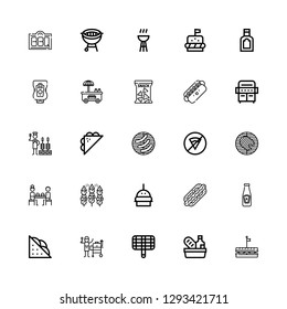Editable 25 burger icons for web and mobile. Set of burger included icons line Sandwich, Food, Grill, Ketchup, Hot dog, Burger, Bbq, Fast food, Barbecue, No fast food on white background