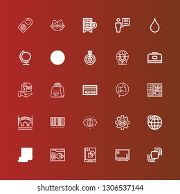 Editable 25 business icons for web and mobile. Set of business included icons line Hidrive, Drawing tablet, Art book, Support, Startup, Worldwide, Settings, Vision, Barcode on red