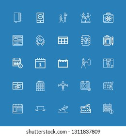 Editable 25 calendar icons for web and mobile. Set of calendar included icons line Calendar, Yatch, Fitness, Exercise, Schedule, Office, Agenda, Business, Wedding on blue background