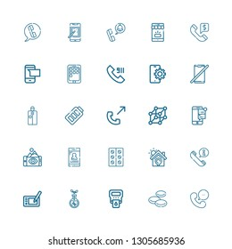 Editable 25 cell icons for web and mobile. Set of cell included icons line Phone, Blood cells, Hemoglobin, Transgenics, Graphic tablet, Call, Solar energy on white background