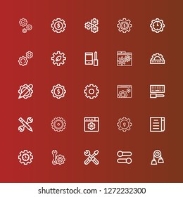 Editable 25 cogwheel icons for web and mobile. Set of cogwheel included icons line Pulley, Settings, Setting, Draft, Gear, Configuration, Cogwheel on red