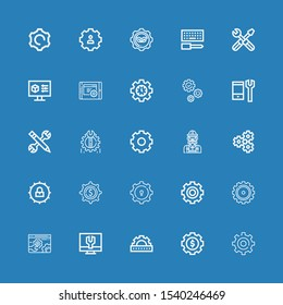 Editable 25 cogwheel icons for web and mobile. Set of cogwheel included icons line Setting, Settings, Cogwheel, Gear, Engineer, Configuration on blue background